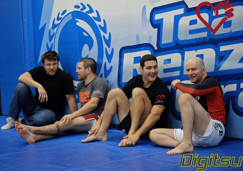 Chris Weidman (2nd from the right) and John Danaher (far right) hanging out during a recent seminar at Renzo Gracie Academy to benefit Live To Fight, Inc. (www.livetofight.org)