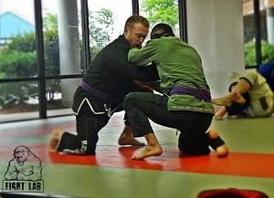 Open Mat training with my friend Matheus (who trains at another local BJJ academy...and frequently taps me out!)